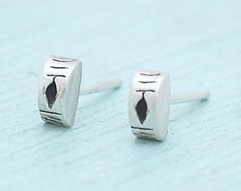 Carved Diamond Studs, sterling silver earrings, gold earrings, eco-friendly. Handcrafted by Chocolate and Steel