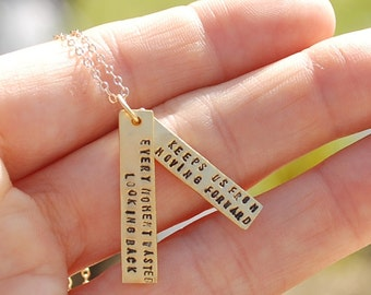 Empowerment 14 kt gold vermeil quote by Hillary Clinton Graduation Birthday Gift- handcrafted artisan necklace by Chocolate and Steel