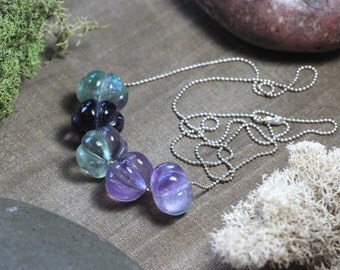 Fluorite Necklace Purple and Green Fluorite Gemstone Pumpkin Fluted Beaded Necklace Sterling Silver Ball Chain