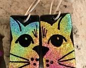 CAT Dichroic Glass Earrings - Hand Etched Split Design Rainbow Glass Art