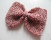 Pink Wool Bow Barrette
