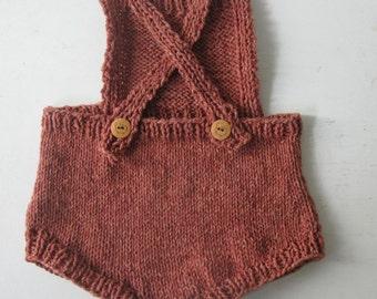 Hand knit Wool/Cotton Romper in Sunstone 12 Months