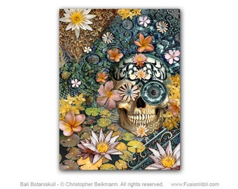 Floral Sugar Skull 18x24 Art Canvas - Bali Botaniskull - Day of the Dead Art Botanical Skull Canvas