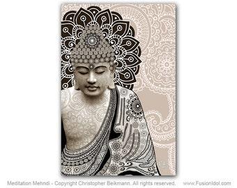 Meditation Mehndi - 16x24 Buddha Art Canvas - Paisley Buddha Art by Christopher Beikmann