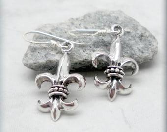 Fleur de Lis Earrings, Sterling Silver, French, Everyday Jewelry, Birthday Gift, Fleur de Lis Jewelry, Dangle Earrings, Charm Earrings SE670
