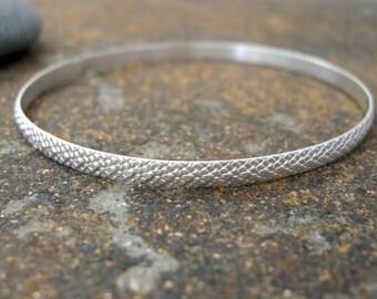 sterling silver bangle bracelet, textured bangle bracelet, handmade womens bracelet