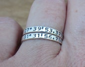Coordinate Ring Couples Friendship Ring Personalized Stackable Ring Latitude Longitude GPS