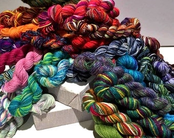 mini skeins, One quarter to whole Pound, sock fingering weight yarn, Beekeeper, hexipuff, scrap quilt, mini skein grab bag