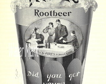 HIRES Root Beer advertising *Instant digitsal download*Vintage style*cards, tags,collage