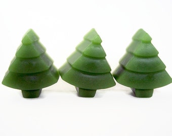 3 Tree Shaped Soaps, Forest Pine Scented Small Guest Soap