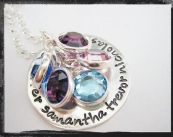 Hand Stamped Birthstone Family Necklace - Personalized Jewelry