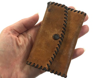 60s Leather Coin Purse / Vintage 1960s Tri-fold Coin Organizer with Cute Whip Stitching
