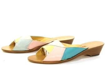 90s Leather Sandals / Vintage 1990s Pastel Open Toe Slides / Italian Slip On Low Wedge Heels / Geometric Patchwork / Women's Size 9.5