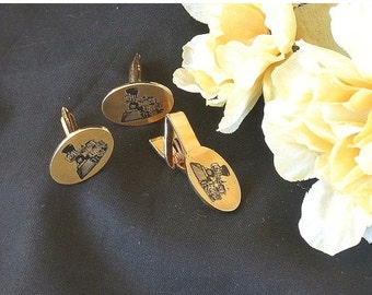SWEETHEART SALE Locomotive Tie Clip Cuff Links, Vintage Locomotive Tie Clip Cuff Links, Tuxedo Accessory, Fathers Day Gift, Gift For Him