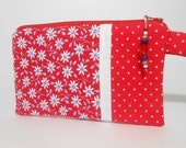 Red Wristlet with Beaded Zipper Pull