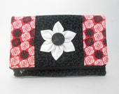 Black Foldover Clutch with Pockets and Kanzashi Flower