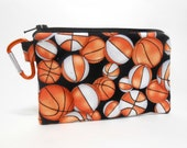 Basketball Carabiner Coin Purse, Black and Orange Coin Purse for Boy or Girl