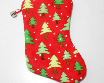 Christmas Stocking Coin Purse, Red Christmas Zip Pouch, Trees Coin Purse with Jingle Bell Accent