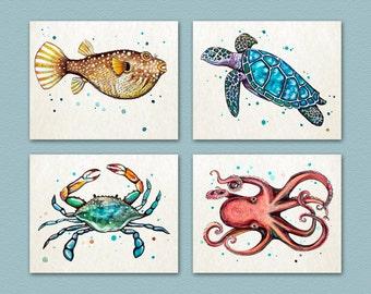 "Set of Four 8""x10"" prints from my original watercolor paintings. Ocean/Sea Animals. Wall Art. Nursery Art. Octopus, Fish, Sea Turtle, Crab"