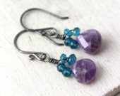 RESERVED - London Blue Topaz and Amethyst Oxidized Silver Earrings