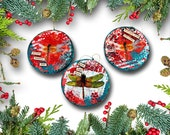 holiday ornaments   Christmas Ornaments with Dragonfly Art   Set of Three Holiday Ornaments   round red and green   memorial ornaments