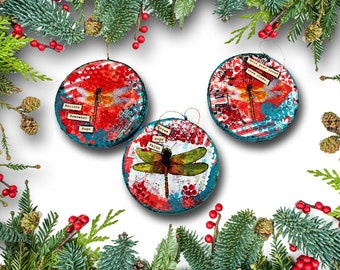 holiday ornaments | Christmas Ornaments with Dragonfly Art | Set of Three Holiday Ornaments | round red and green | memorial ornaments