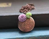 Copper Locket Necklace, Romantic, Valentine, Gift For Her, Victorian Inspired, Vintage Style, Boxing Day Sale