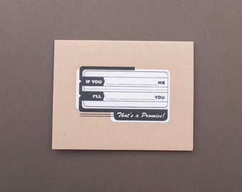 If You___ Me, I'll ___You! (FIB-01) SALE Screen Printed Card Fill in the Blank Funny Humorous Black and White General Card Blank Inside