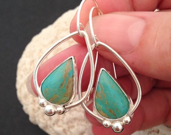RESERVED, Royston Turquoise Dangle Earrings, Metalsmith Sterling Silver Hoops Handcrafted Silversmith Bohemian Boho Chic Stone Earrings
