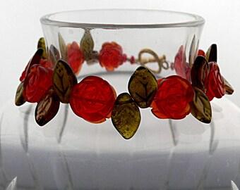Red Rose Bracelet, Flower Bracelet, Flower Garden Bracelet, Red Bracelet, Gold, Petite
