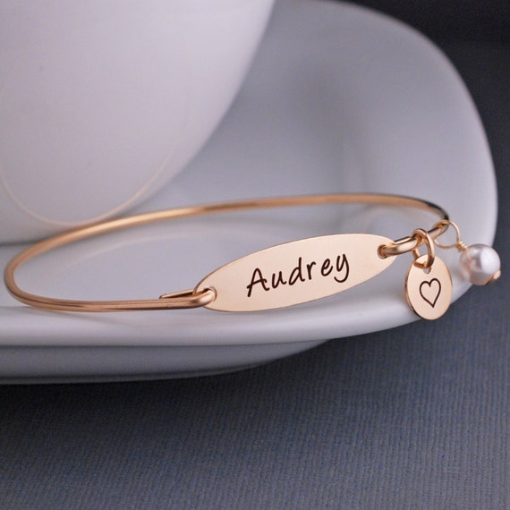 Personalized Name Bracelet, Jewelry, Gold Name Bracelet, Child's Name Bracelet, Custom Engraved Bangle