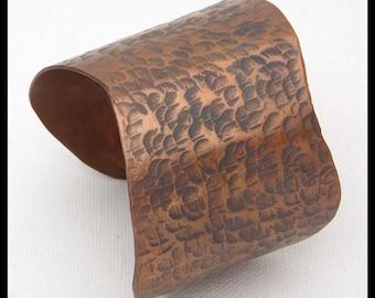 WAVY CUFF - Handforged Hammered Antiqued Wide Wavy Copper Cuff Bracelet