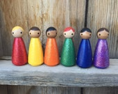 Sparkle PegBuddies- Glitter Peg dolls, dollhouse dolls, color learning toys, waldorf toys