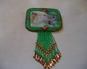 Native American Style rosette beaded Wolf Brooch In Jade Green