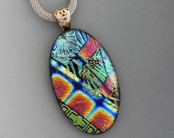 Oval Dichroic Glass Statement Pendant, Fused Glass Necklace,  Dichroic Pendant, Glass Slide,  Glass Pendant in Multi Colors