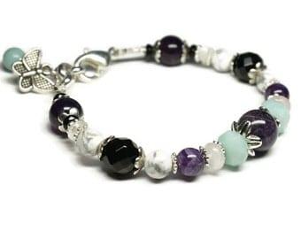 Anti Anxiety and Stress Relief Gemstone Bracelet with Amethyst, Amazonite,Black Onyx, Rose Quartz, Moonstone, Howlite,Calming, Sleep Aid