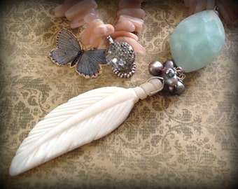 Flight Amazonite and Bone Feather Necklace