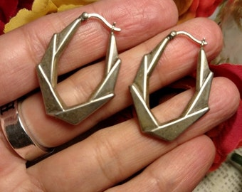 SALE TODAY Bold Modernist Mod Vintage Sterling Silver Geometric Hoop Earrings 1 and 1/4 Inches Long