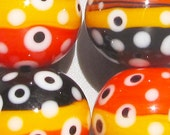 Halloween Half & Halfs --Handmade Lampwork Beads