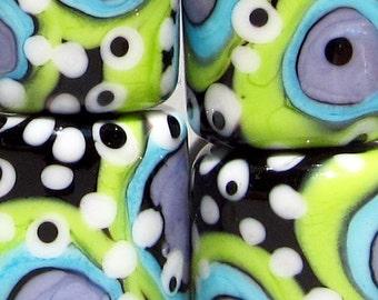 Turple & Green  Bullseye Barrels --Handmade Lampwork Beads