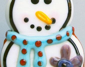 Snowman--Handmade Lampwork Glass Bead