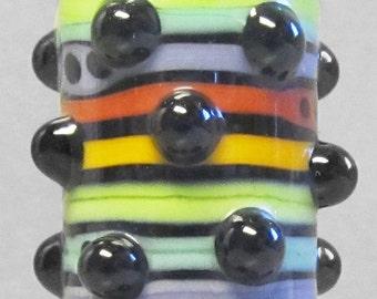 Rainbow Bubble Dot Barrel--Handmade Lampwork Glass Bead