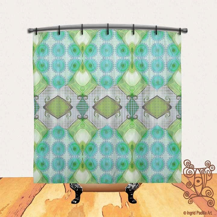 Turquoise Blue Shower Curtain Shower Curtain BOHO Shower