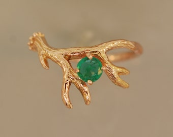 Antler Ring 2 in Rose Gold and Emerald,alternative engagement ring, twig ring, gold twig ring,rose gold ring, emerald ring
