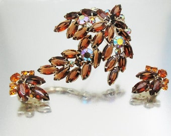 Juliana D&E Large Pin Brooch Earrings Autumn Colors