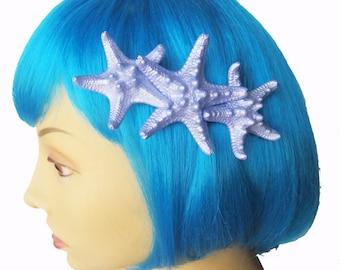 Retro Triple Starfish Hair Clip, Mermaid Hair Clip, Knobby Starfish, Starfish Hair Clip, Beach Weddings