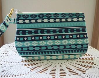 Aztec Tribal Bohemian Wedding, Bridal, Bridesmaid, Wristlet, Zipper Gadget Pouch, Smart Phone Bag