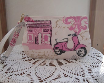 Vespa Scooter Paris Eiffel Tower Wristlet Zipper Gadget Pouch