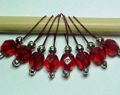 Ruby Red Stitch Markers on Brick Red Wire - US 10 - Item No. 441
