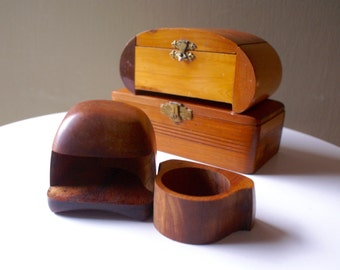 Instant Vintage Wood Box Collection, Wooden Box lot for Trinkets and Treasures